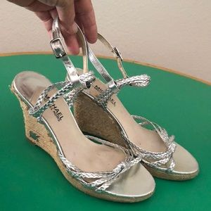 Michael Kors Silver Braided Strapped Wedge Sandals